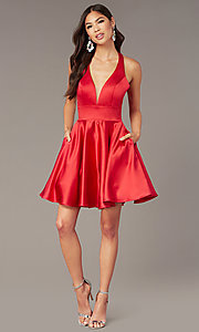 Image of cut-out short homecoming party dress with pockets. Style: AL-3882 Detail Image 4