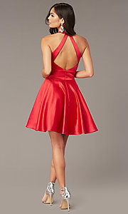 Image of cut-out short homecoming party dress with pockets. Style: AL-3882 Detail Image 3