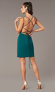 Image of Alyce short corset-back homecoming party dress. Style: AL-4090 Detail Image 3