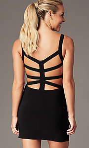 Image of caged-back short homecoming party dress. Style: AL-4095 Detail Image 1