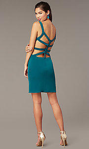 Image of caged-back short homecoming party dress. Style: AL-4095 Detail Image 4