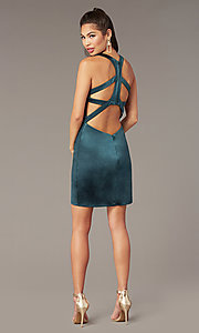 Image of caged-back short tight homecoming dress by Alyce. Style: AL-A4097 Front Image
