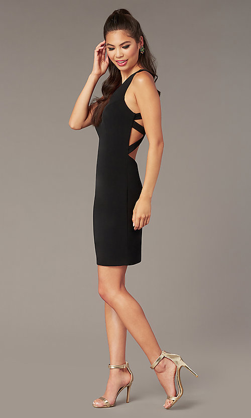 Image of short Alyce jersey homecoming dress with cut outs. Style: AL-A4098 Detail Image 1