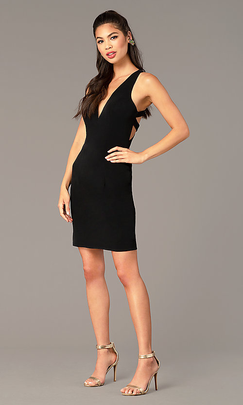 Image of short Alyce jersey homecoming dress with cut outs. Style: AL-A4098 Back Image