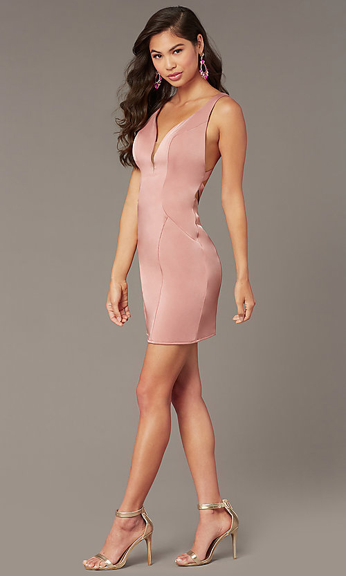 Image of open-back short v-neck homecoming party dress. Style: AL-A4099 Back Image