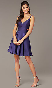 Image of short a-line homecoming party dress with cut out. Style: AL-A4117 Front Image