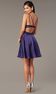 Image of short a-line homecoming party dress with cut out. Style: AL-A4117 Back Image