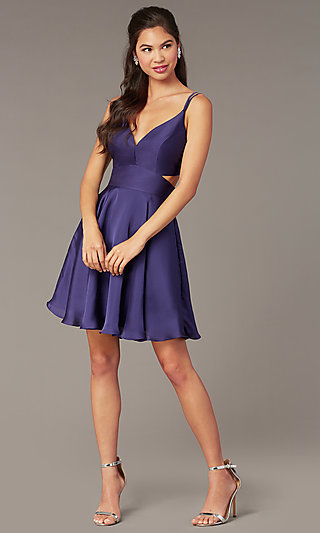 Short A-Line Homecoming Party Dress with Cut Out