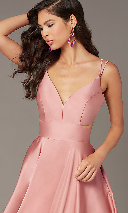 Image of short a-line homecoming party dress with cut out. Style: AL-A4117 Detail Image 4