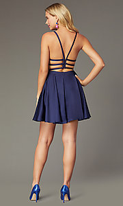 Image of Alyce short strappy-back homecoming dress. Style: AL-A4118 Detail Image 7