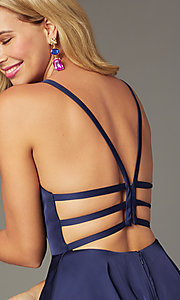 Image of Alyce short strappy-back homecoming dress. Style: AL-A4118 Detail Image 1