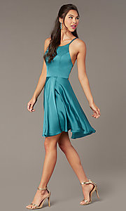 Image of Alyce short strappy-back homecoming dress. Style: AL-A4118 Detail Image 2