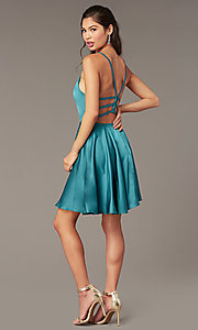 Image of Alyce short strappy-back homecoming dress. Style: AL-A4118 Detail Image 3