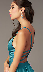 Image of Alyce short strappy-back homecoming dress. Style: AL-A4118 Detail Image 4