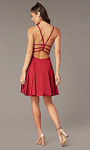 Image of Alyce short strappy-back homecoming dress. Style: AL-A4118 Front Image