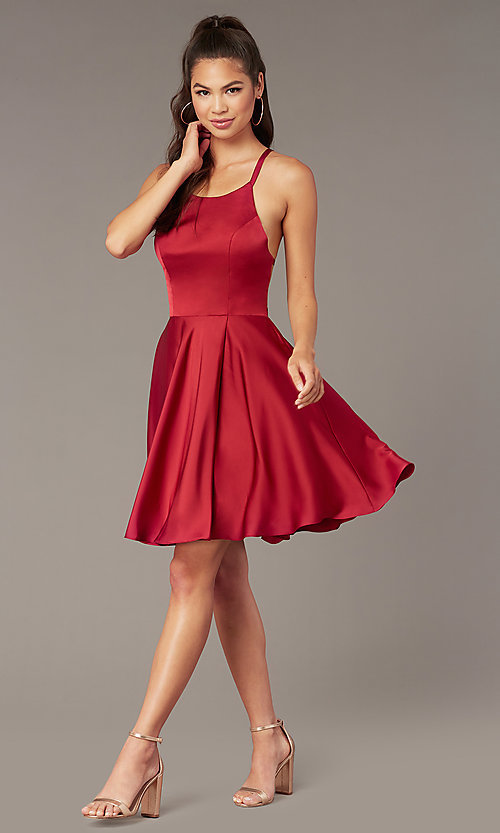 Image of Alyce short strappy-back homecoming dress. Style: AL-A4118 Back Image