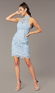 Image of Alyce high-neck short lace homecoming party dress. Style: AL-A4139 Front Image