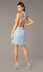 Image of Alyce high-neck short lace homecoming party dress. Style: AL-A4139 Back Image