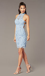 Image of Alyce high-neck short lace homecoming party dress. Style: AL-A4139 Detail Image 1