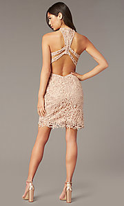 Image of Alyce high-neck short lace homecoming party dress. Style: AL-A4139 Detail Image 4
