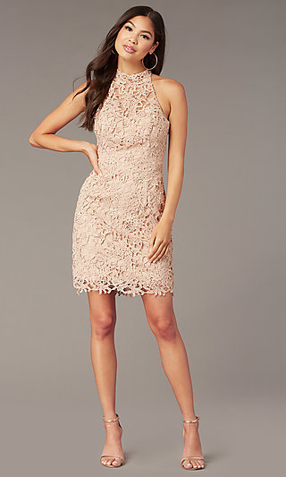 Alyce High-Neck Short Lace Homecoming Party Dress