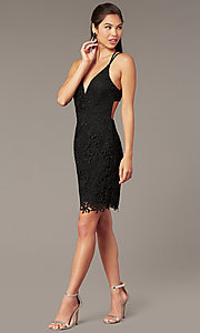 Image of beaded-lace short homecoming dress with caged back. Style: AL-A4141 Detail Image 2