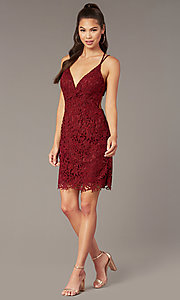 Image of beaded-lace short homecoming dress with caged back. Style: AL-A4141 Back Image