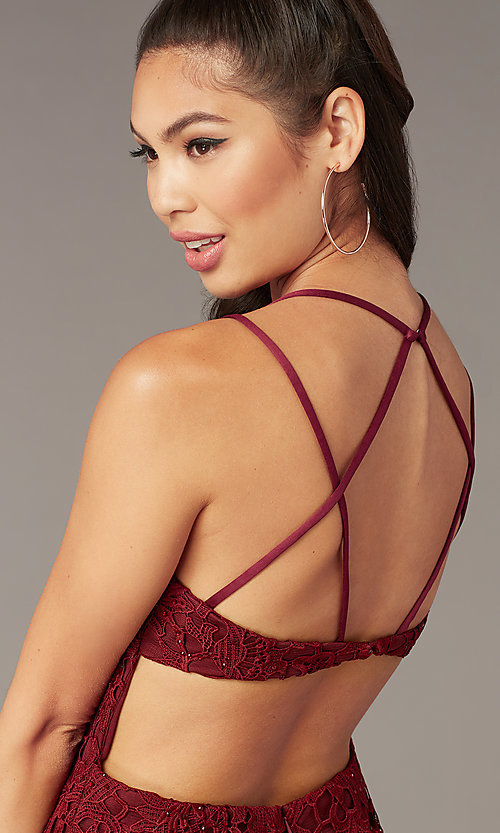 Image of beaded-lace short homecoming dress with caged back. Style: AL-A4141 Detail Image 1
