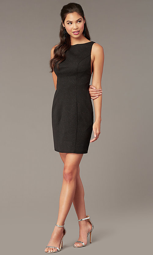 Image of high-neck short formal party dress for homecoming. Style: AL-A4160 Back Image