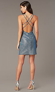 Image of short open-back blue opal taffeta homecoming dress. Style: AL-4179 Detail Image 2