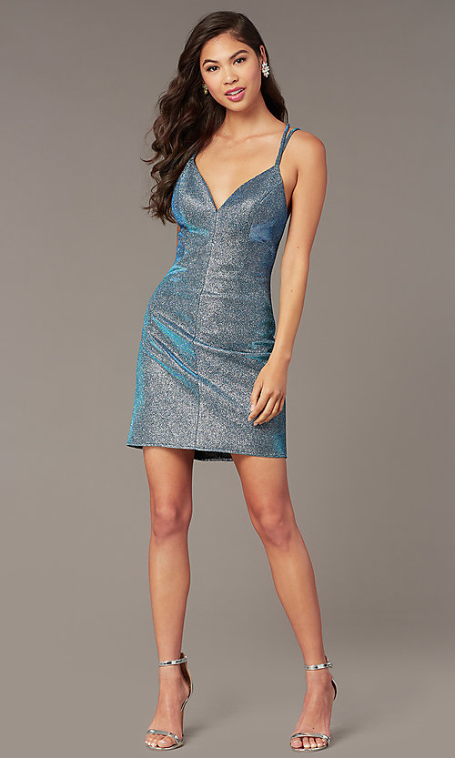 Image of short open-back blue opal taffeta homecoming dress. Style: AL-4179 Back Image