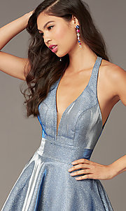 Image of starry blue short hoco dress in cracked-ice taffeta. Style: AL-4182 Detail Image 1