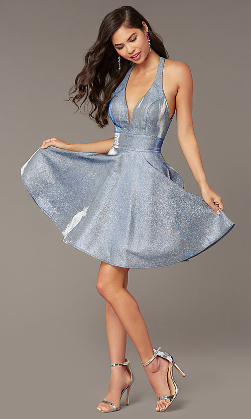 Image of starry blue short hoco dress in cracked-ice taffeta. Style: AL-4182 Front Image