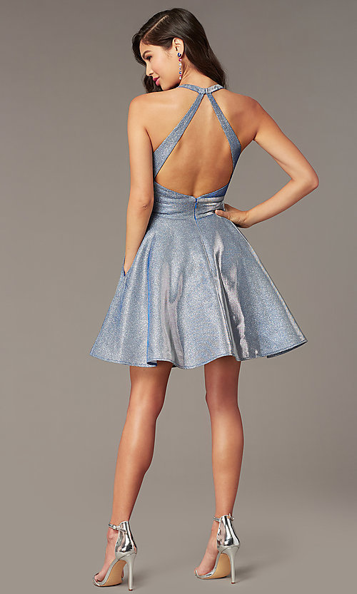 Image of starry blue short hoco dress in cracked-ice taffeta. Style: AL-4182 Back Image