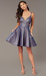 Image of short homecoming party dress in iridescent glitter. Style: AL-A4183 Front Image