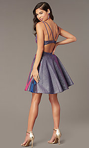 Image of short homecoming party dress in iridescent glitter. Style: AL-A4183 Back Image