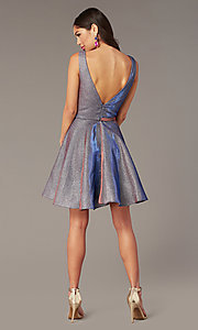 Image of short iridescent-glitter homecoming dress by Alyce. Style: AL-4186 Detail Image 5