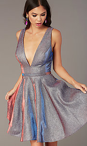 Image of short iridescent-glitter homecoming dress by Alyce. Style: AL-4186 Detail Image 6