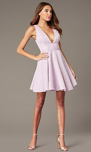 Short Iridescent-Glitter Homecoming Dress by Alyce