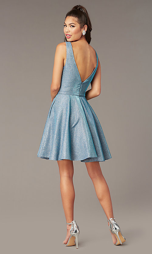 Image of short iridescent-glitter homecoming dress by Alyce. Style: AL-4186 Detail Image 2