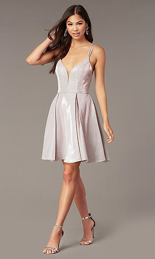 Sparkly Short Homecoming Party Dress with Pockets