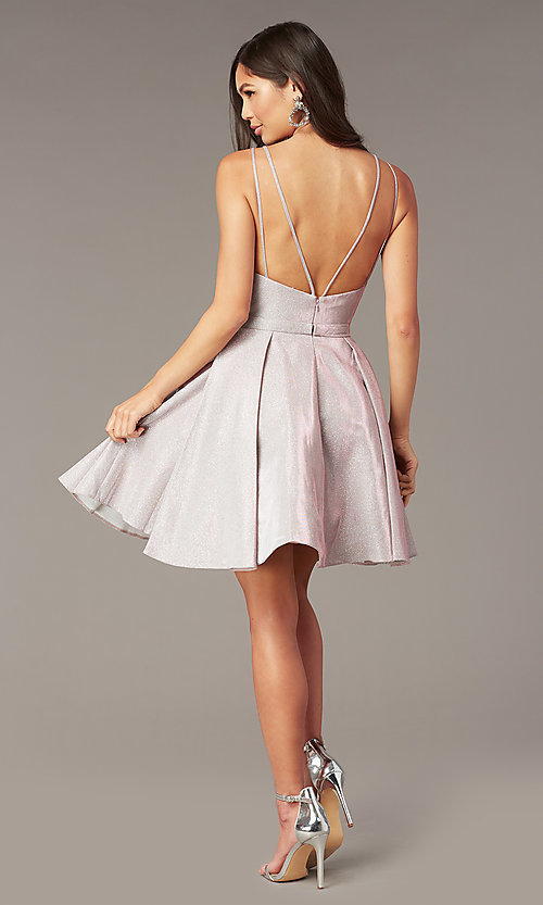 Image of sparkly short homecoming party dress with pockets. Style: AL-A4187 Back Image