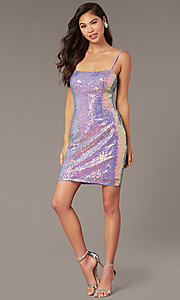 Image of short backless sequin homecoming party dress. Style: AL-4201 Detail Image 2