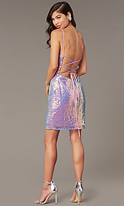 Image of short backless sequin homecoming party dress. Style: AL-4201 Detail Image 3