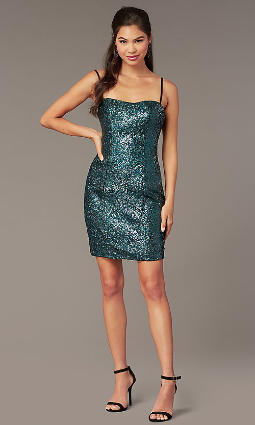 Image of short backless sequin homecoming party dress. Style: AL-4201 Front Image