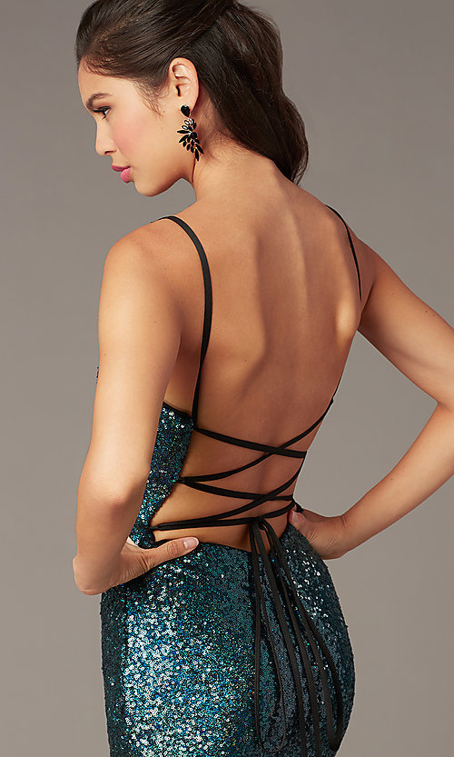 Image of short backless sequin homecoming party dress. Style: AL-4201 Detail Image 1