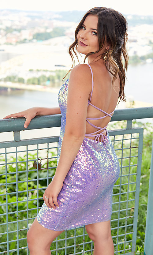 Image of short backless sequin homecoming party dress. Style: AL-4201 Detail Image 5