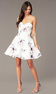 Image of strapless sweetheart short floral party dress. Style: AL-3894 Front Image