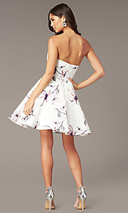 Image of strapless sweetheart short floral party dress. Style: AL-3894 Back Image