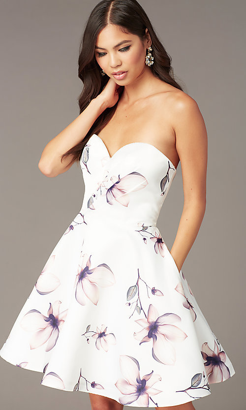 Image of strapless sweetheart short floral party dress. Style: AL-3894 Detail Image 1